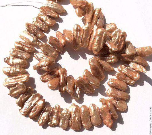 Жемчуг натуральный 13-21 мм бива крем-брюле бива. Жемчуг цвет крем-брюле с розовым, с переливами.. Жемчуг  для украшений и бижутерии  ручной работы. Handmade.