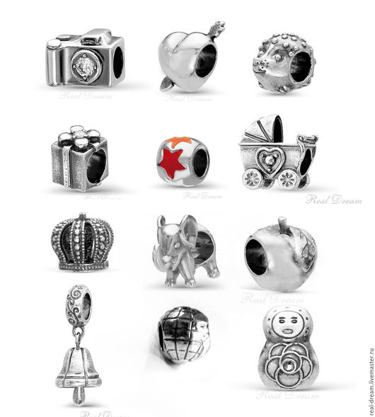 Для украшений ручной работы. Ярмарка Мастеров - ручная работа. Купить Шарм, серебрение, арт.Bsharm01-12 (12 видов). Handmade.
