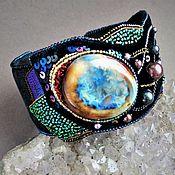 Украшения handmade. Livemaster - original item Odyssey bracelet ceramic, velvet, sequins, cantel, beads. Handmade.