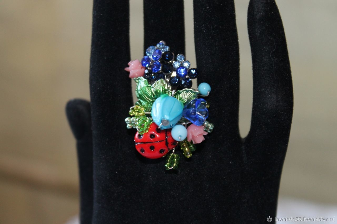 Кольца ручной работы. Ярмарка Мастеров - ручная работа. Купить Кольцо лэмпворк цветочное Летний сад. Handmade. Кольцо