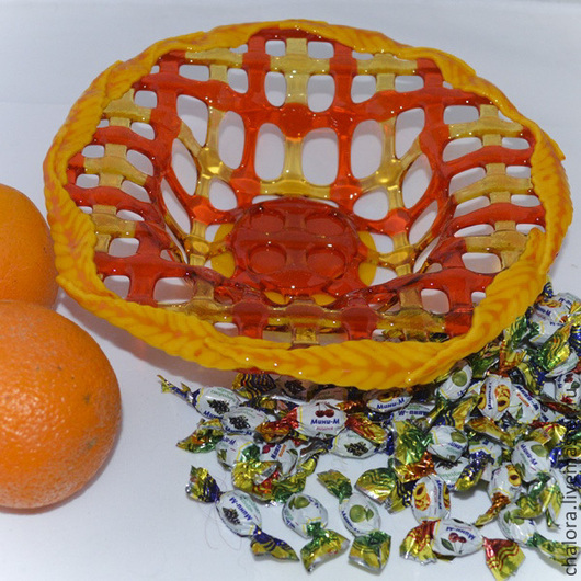 """Конфетницы, сахарницы ручной работы. Ярмарка Мастеров - ручная работа. Купить Конфетница """"Желтые листья"""". Handmade. Фьюзинг, сухарница, посуда"""