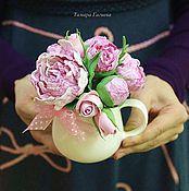 Цветы и флористика ручной работы. Ярмарка Мастеров - ручная работа Пионы в молочнике. Handmade.