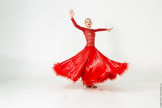 """Танцевальные костюмы ручной работы. Ярмарка Мастеров - ручная работа. Купить Платье для бальных танцев (стандарт) """"Red Splash"""". Handmade."""