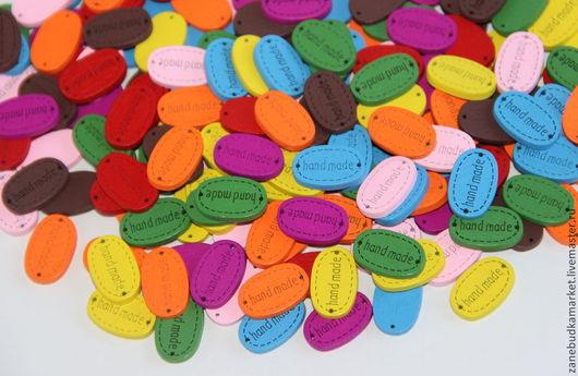 """Шитье ручной работы. Ярмарка Мастеров - ручная работа. Купить Нашивки деревянные цветные """"Handmade"""" (овальные). Handmade. Пуговицы"""