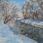 Картины ручной работы. Ярмарка Мастеров - ручная работа Пейзаж, Картина маслом, зимний пейзаж маслом - В конце зимы. Handmade.