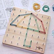 Куклы и игрушки ручной работы. Ярмарка Мастеров - ручная работа Математический планшет (геоборд, геометрик). Handmade.