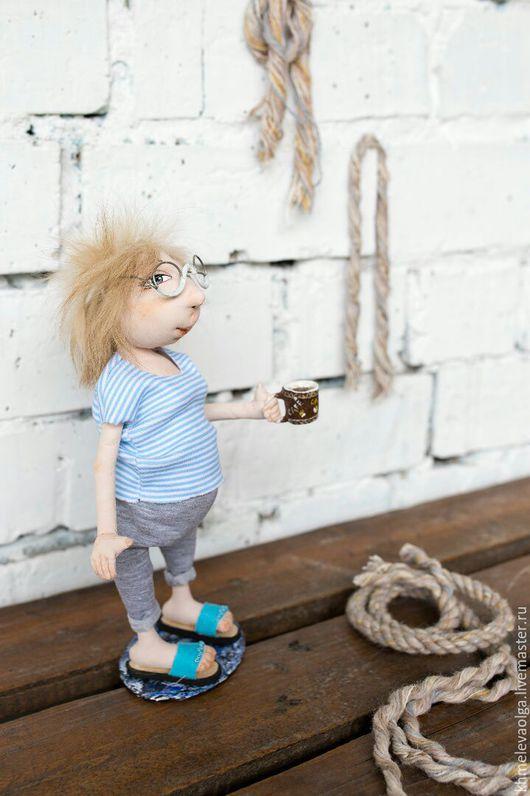 Коллекционные куклы ручной работы. Ярмарка Мастеров - ручная работа. Купить Отпускница. Handmade. Голубой, очки, хлопок 100%