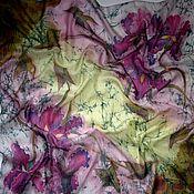 """Аксессуары ручной работы. Ярмарка Мастеров - ручная работа Батик винтаж,платок """"Ирисы"""", натуральный шёлк 50% ,50%шерсть 90-90 см.. Handmade."""
