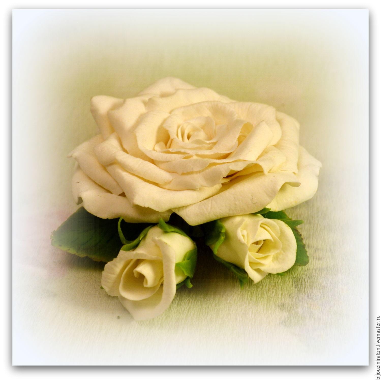 Брошь с белой розой из полимерной глины.Свадебная брошь, Броши, Казань, Фото №1