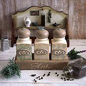 Для дома и интерьера handmade. Livemaster - original item Spice jars Mint Summer. Spice jars decoupage. Handmade.