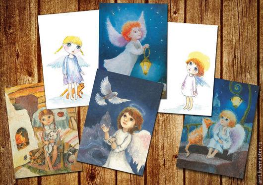 Открытки к Новому году ручной работы. Ярмарка Мастеров - ручная работа. Купить Новогодние открытки Ангелы открытки набор 6 шт. Handmade.