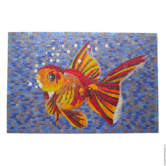 """Животные ручной работы. Ярмарка Мастеров - ручная работа. Купить Мозаичное панно """"Золотая рыбка"""" и комплект плиток к нему.. Handmade."""