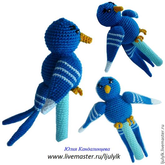 """Развивающие игрушки ручной работы. Ярмарка Мастеров - ручная работа. Купить """"Синяя птица"""" погремушка. Handmade. Синий, Вязание крючком"""