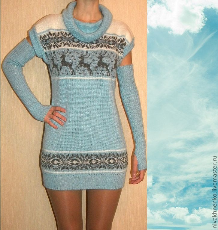 Tunic knit with a Norwegian ornament, Tunics, Moscow,  Фото №1