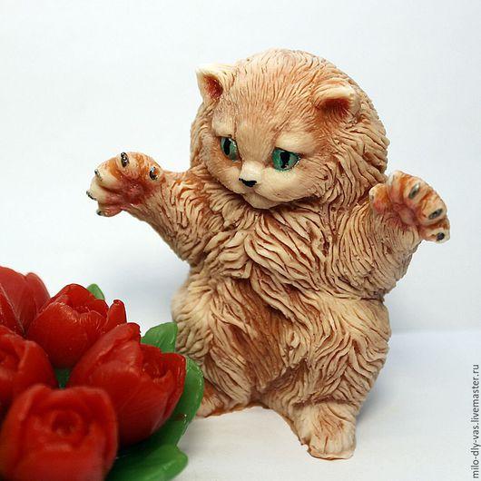 Мыло Кот пушистый, большой, 3D.