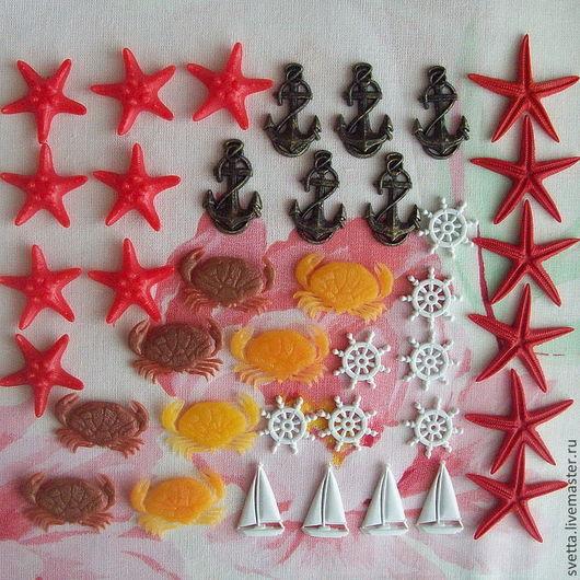 Другие виды рукоделия ручной работы. Ярмарка Мастеров - ручная работа. Купить Звёзды, крабики, якорьки, штурвалы, яхты - декоративные элементы. Handmade.