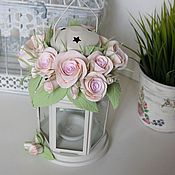 Цветы и флористика handmade. Livemaster - original item Candle holder with roses for wedding Flowers polymer clay handmade. Handmade.