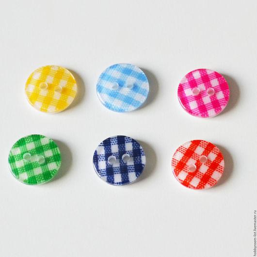"""Шитье ручной работы. Ярмарка Мастеров - ручная работа. Купить Пуговицы круглые """"клетка"""". 13 мм. Handmade. Комбинированный"""