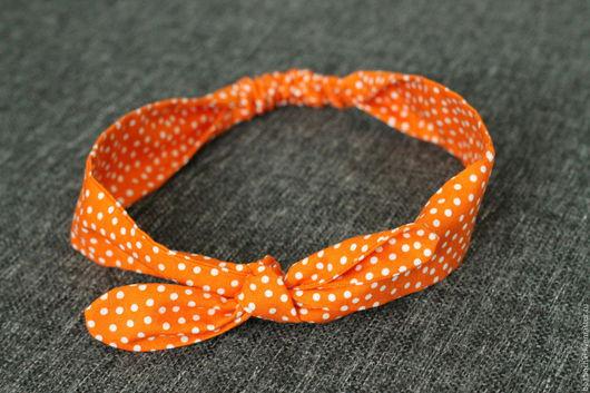 Повязки ручной работы. Ярмарка Мастеров - ручная работа. Купить Солоха оранжевая в горошек. Handmade. Оранжевый, оранжевая солоха