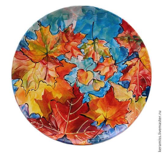 Тарелка Осень. Керамика ручной работы. Ярмарка мастеров.
