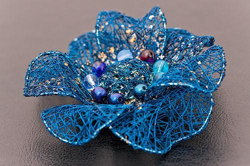 """Броши ручной работы. Ярмарка Мастеров - ручная работа. Купить Брошь """"Sea flower"""". Handmade. Авторский дизайн, синий цветок"""
