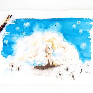 Картины и панно ручной работы. Ярмарка Мастеров - ручная работа Серия Маленькие радости. Девушка-облако - сказочная акварель. Handmade.