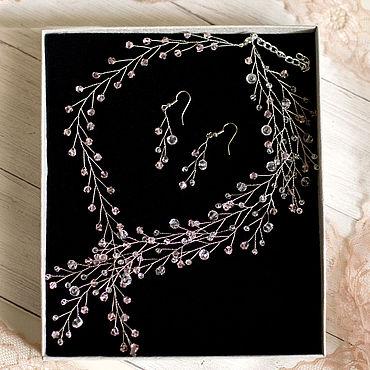 Свадебный салон ручной работы. Ярмарка Мастеров - ручная работа Свадебный комплект - колье и серьги. Handmade.