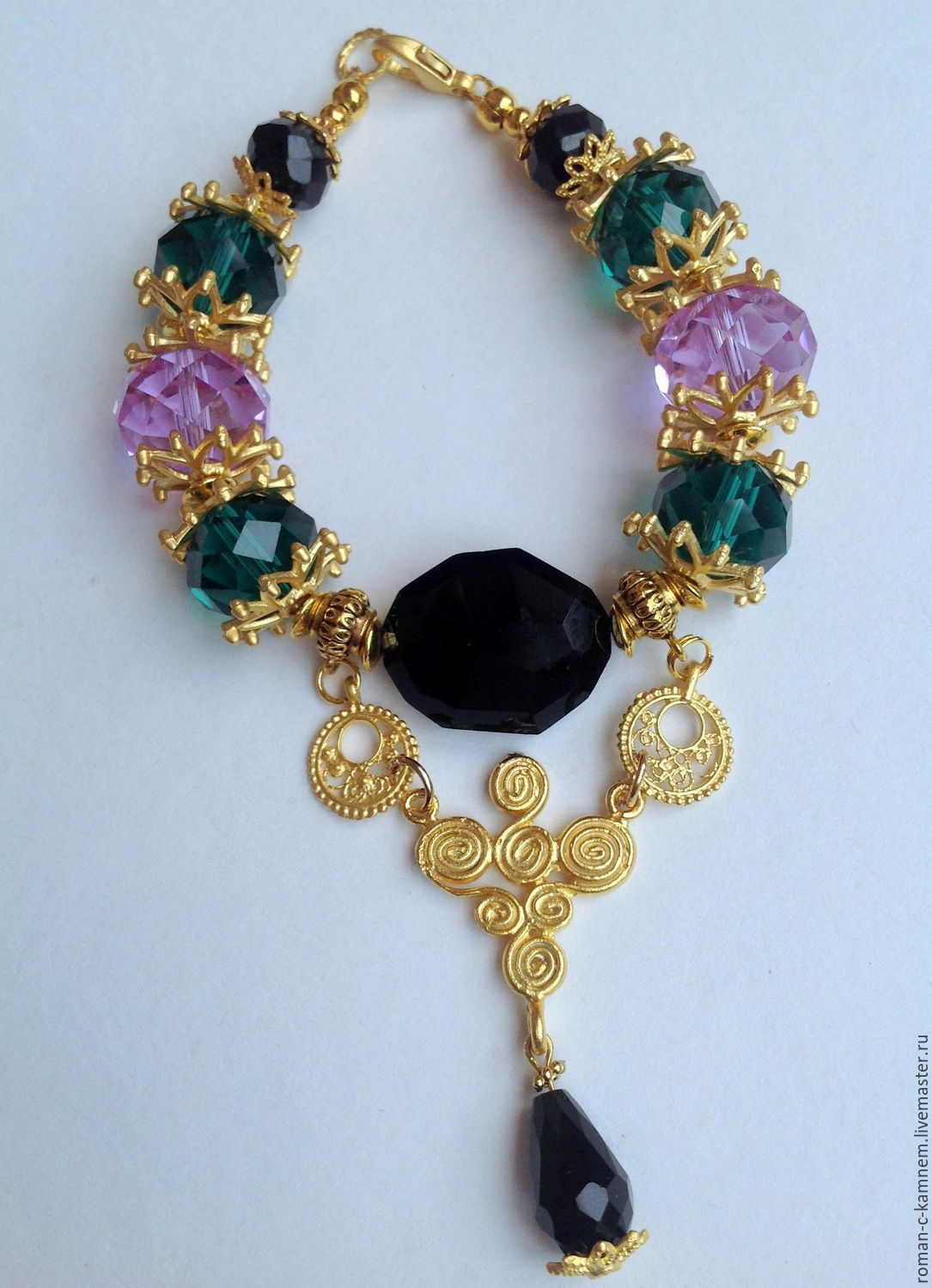 Set of jewelry in Oriental style Flowered lilac. Darling, unique gift for extraordinary, stylish women and girls.