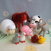 """Куклы и игрушки ручной работы. Ярмарка Мастеров - ручная работа """"Ферма"""" набор вязаных игрушек. Handmade."""