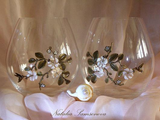 """Бокалы, стаканы ручной работы. Ярмарка Мастеров - ручная работа. Купить Бокалы """"Тропический рай"""" (пара). Handmade. Декор стекла"""