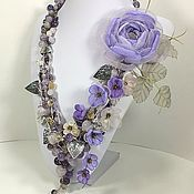 Украшения handmade. Livemaster - original item Windy Lilac. Necklace, pendant, brooch flower, fabric flowers. Handmade.