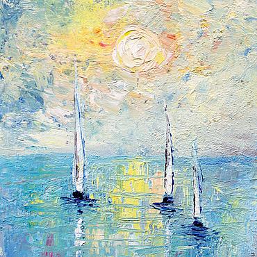Картины и панно ручной работы. Ярмарка Мастеров - ручная работа Небо и море. Лодки навстречу солнцу. Handmade.