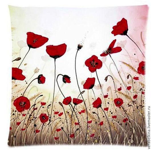 """Текстиль, ковры ручной работы. Ярмарка Мастеров - ручная работа. Купить Наволочка на подушку """"Маки"""". Handmade. Комбинированный, наволочки, белый"""