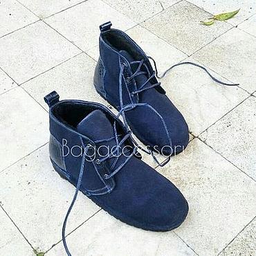 Обувь ручной работы. Ярмарка Мастеров - ручная работа Мужские ботинки из натуральной замши и кожи аллигатора. Handmade.