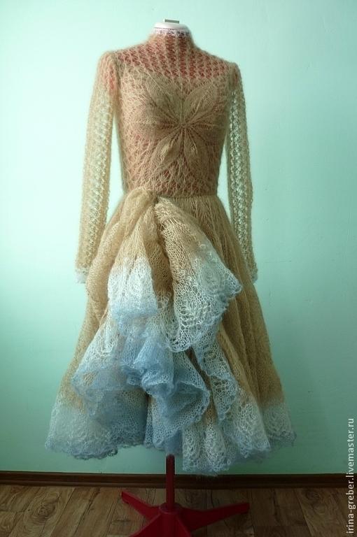 """Платья ручной работы. Ярмарка Мастеров - ручная работа. Купить Платье вязаное """"Весенний цветок"""". Handmade. Бежевый, пышное платье"""