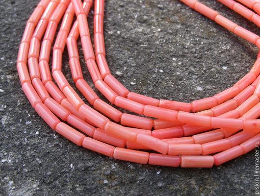 Для украшений ручной работы. Ярмарка Мастеров - ручная работа. Купить Бусины коралл розовый рубка (цилиндры) 10мм Б127. Handmade.