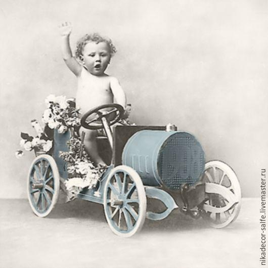 Декупаж и роспись ручной работы. Ярмарка Мастеров - ручная работа. Купить Мальчик на машинке (2087) 33х33 салфетка для декупажа. Handmade.