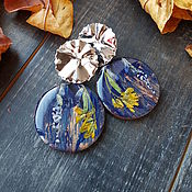 Украшения handmade. Livemaster - original item Earrings classic:Blue with real flowers inside. Handmade.