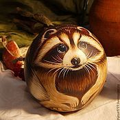 Сувениры и подарки handmade. Livemaster - original item Raccoon musical souvenir toy roly-poly musical ball. Handmade.