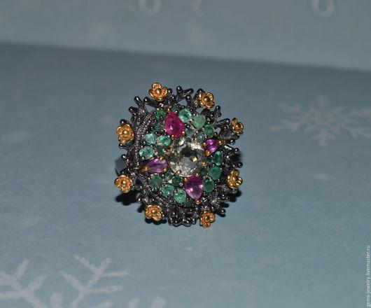 Кольца ручной работы. Ярмарка Мастеров - ручная работа. Купить Интересное кольцо - натуральные изумруды, цитрин, рубины. Handmade.