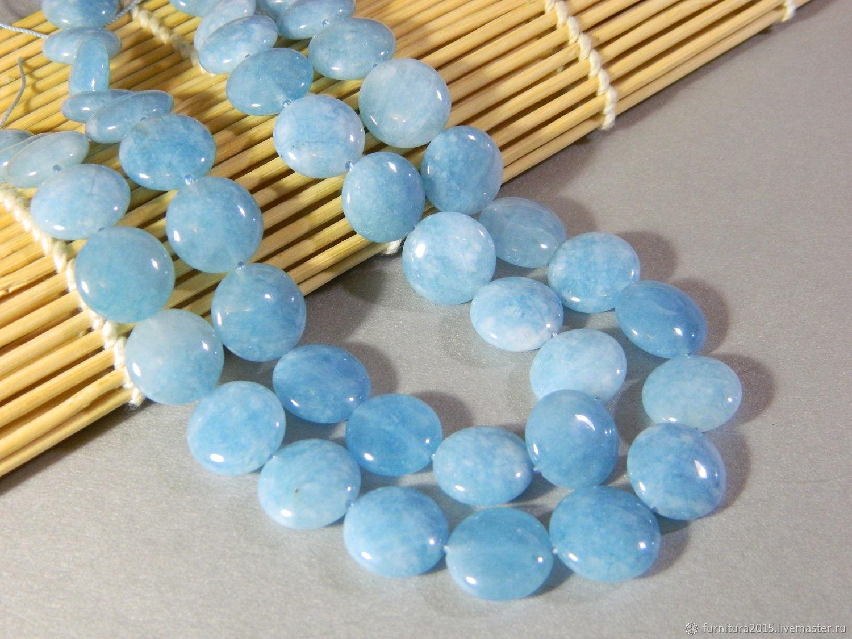 Jade blue color aquamarine. Thread, Beads1, Saratov,  Фото №1