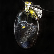 Украшения handmade. Livemaster - original item Pendant: Midnight – black cat on black agate pendant with lacquer painting. Handmade.