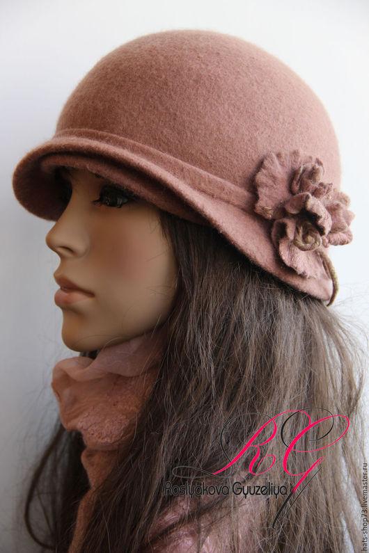 Шляпы ручной работы. Ярмарка Мастеров - ручная работа. Купить Шляпка валяная Пыльная роза. Handmade. Однотонный, дамская шляпка