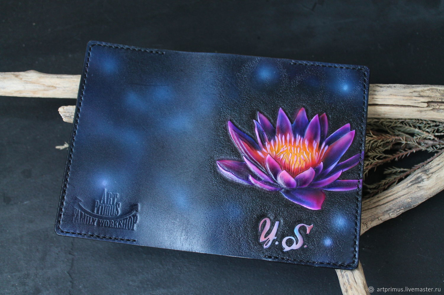 Leather passport cover 'Art Lily' embossing, painting, Passport cover, Voronezh,  Фото №1