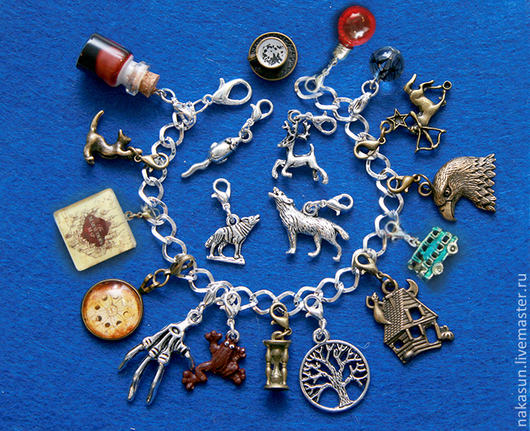 Браслеты ручной работы. Ярмарка Мастеров - ручная работа. Купить Гарри Поттер и Узник Азкабана браслет (19 кулонов). Handmade.