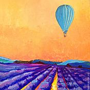 """Картины и панно ручной работы. Ярмарка Мастеров - ручная работа Картина маслом """"На большом воздушном шаре"""". Handmade."""