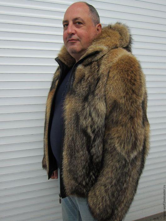 Верхняя одежда ручной работы. Ярмарка Мастеров - ручная работа. Купить Шуба из меха волка мужская с капюшоном или ворот стойка. Handmade.