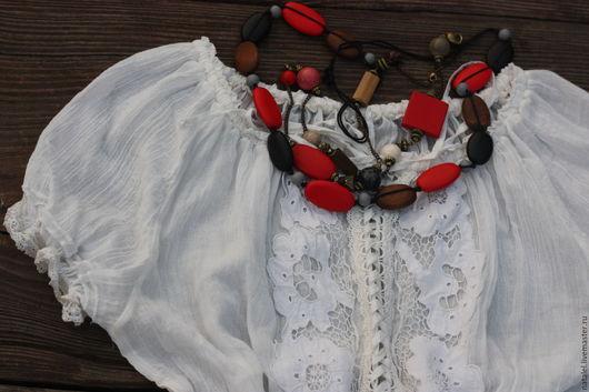 Блузки ручной работы. Ярмарка Мастеров - ручная работа. Купить Блузка с кружевом ришелье, белая, прованс, винтаж.. Handmade. Белый