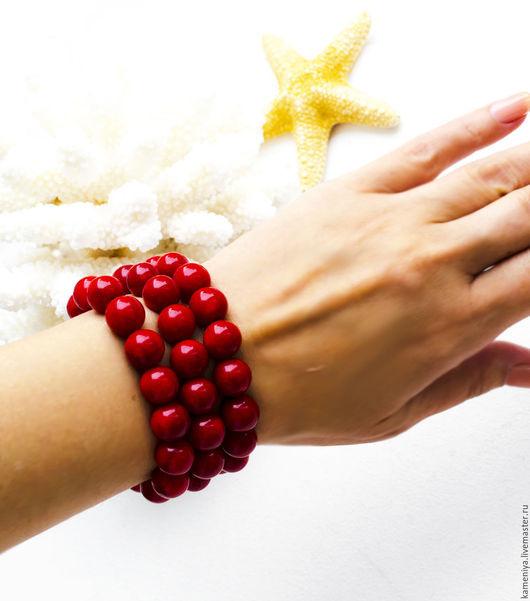 Браслеты ручной работы. Ярмарка Мастеров - ручная работа. Купить Комплект браслетов из красного коралла. Handmade. Ярко-красный, коралловый