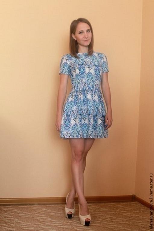 """Платья ручной работы. Ярмарка Мастеров - ручная работа. Купить Платье """"Гжель"""" мини. Handmade. Голубой, платье летнее"""